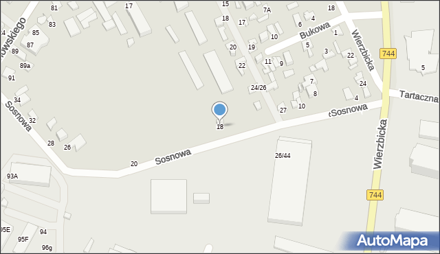 Radom, Sosnowa, 18, mapa Radomia