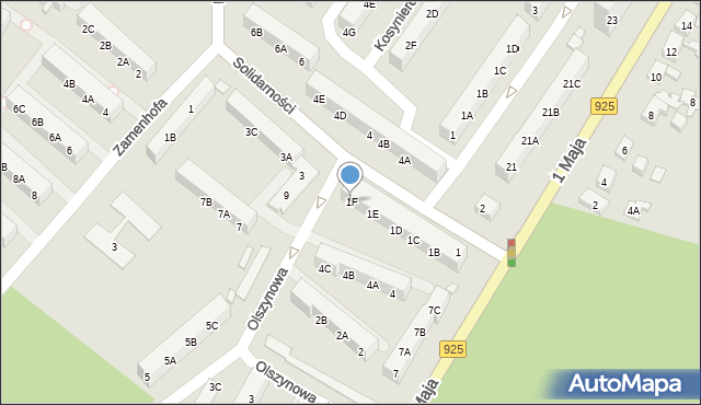 Ruda Śląska, Solidarności, 1F, mapa Rudy Śląskiej