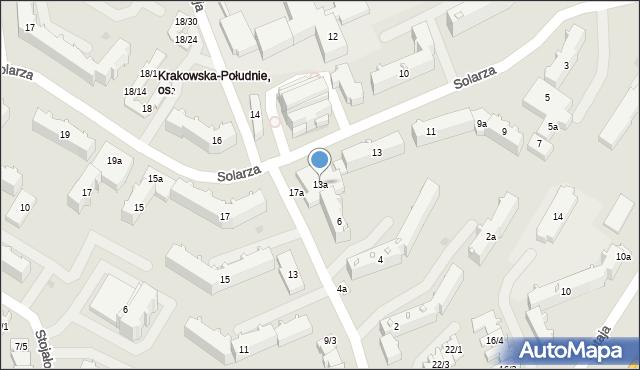 Rzeszów, Solarza Ignacego, 13a, mapa Rzeszów