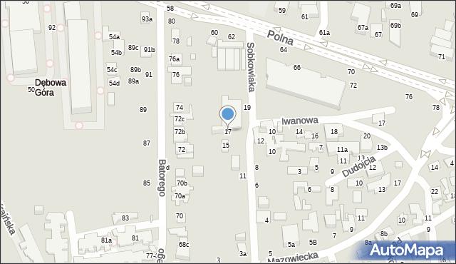 Toruń, Sobkowiaka Andrzeja, 17, mapa Torunia