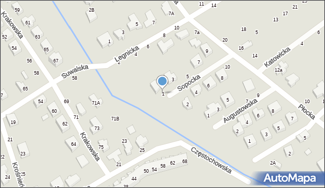 Toruń, Sopocka, 1, mapa Torunia
