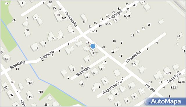 Toruń, Sopocka, 9, mapa Torunia
