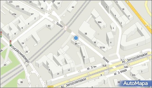 Warszawa, Solec, 85, mapa Warszawy