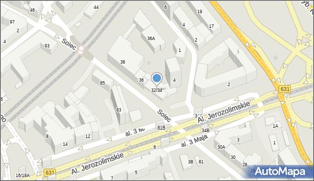 Warszawa, Solec, 32/34, mapa Warszawy