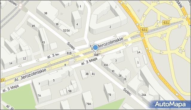 Warszawa, Solec, 34B, mapa Warszawy