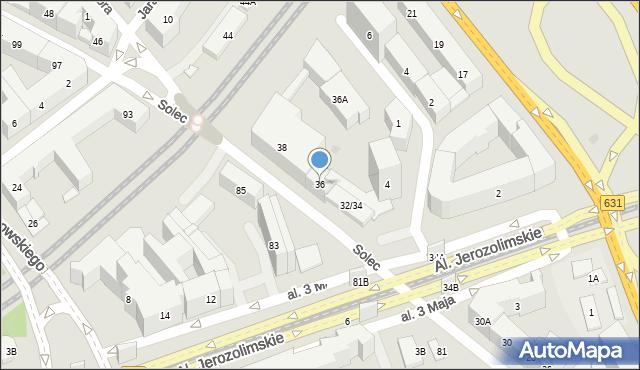 Warszawa, Solec, 36, mapa Warszawy