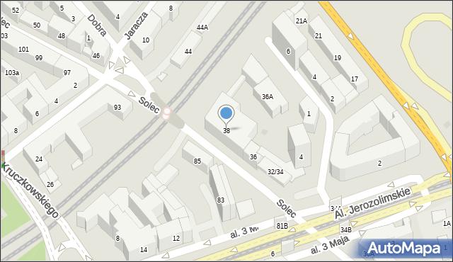 Warszawa, Solec, 38, mapa Warszawy