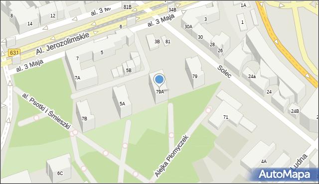 Warszawa, Solec, 79A, mapa Warszawy