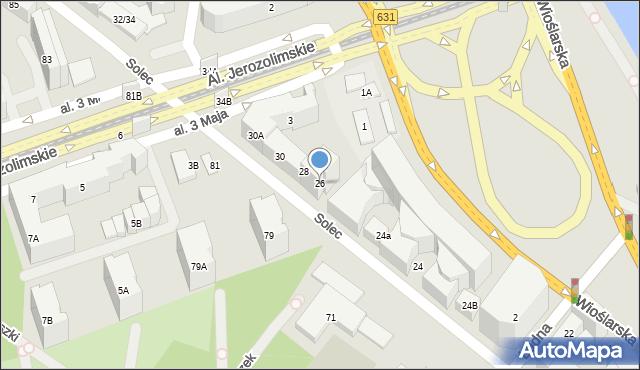 Warszawa, Solec, 26, mapa Warszawy