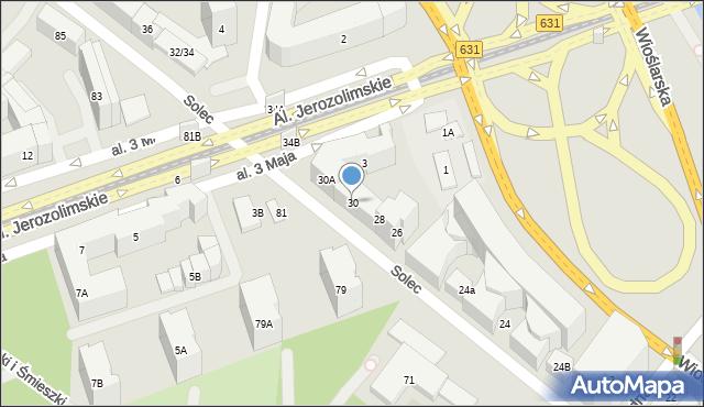 Warszawa, Solec, 30, mapa Warszawy