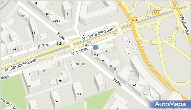Warszawa, Solec, 30A, mapa Warszawy