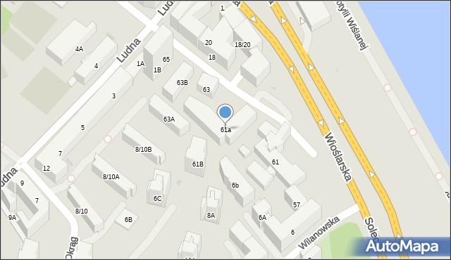 Warszawa, Solec, 61a, mapa Warszawy