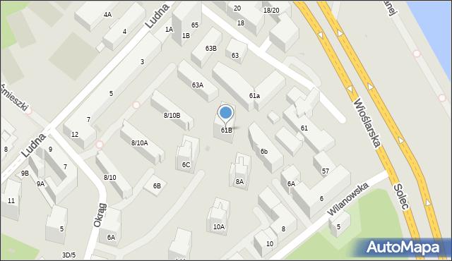 Warszawa, Solec, 61B, mapa Warszawy