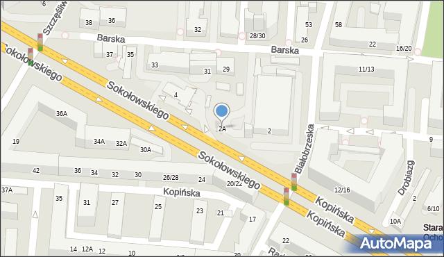 Warszawa, Sokołowskiego Mieczysława, ppłk., 2A, mapa Warszawy