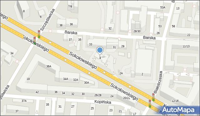 Warszawa, Sokołowskiego Mieczysława, ppłk., 4, mapa Warszawy