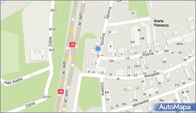 Częstochowa, Sporna, 5, mapa Częstochowy