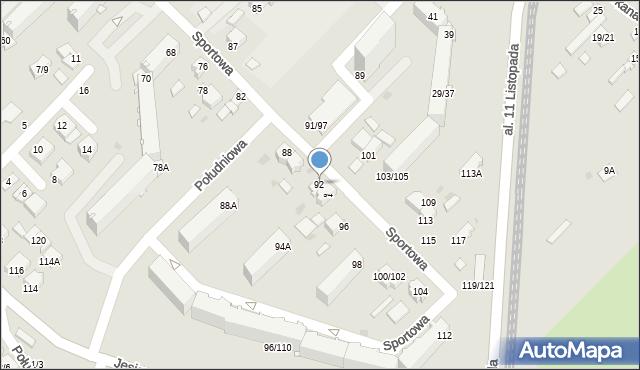 Częstochowa, Sportowa, 92, mapa Częstochowy