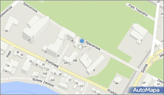 Kołobrzeg, Spacerowa, 1, mapa Kołobrzegu