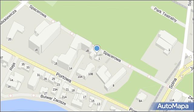 Kołobrzeg, Spacerowa, 1A, mapa Kołobrzegu