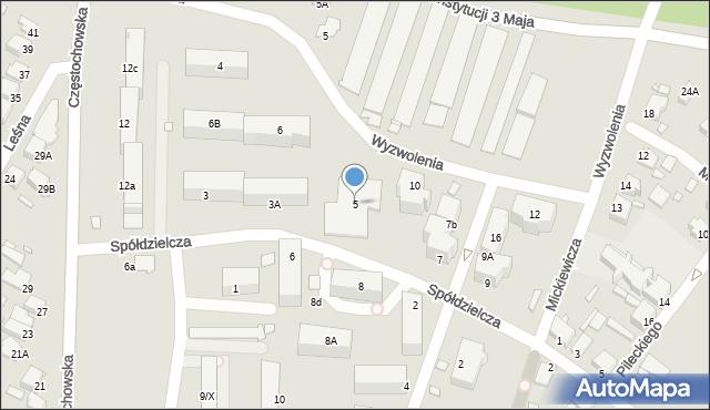 Łazy, Spółdzielcza, 5, mapa Łazy