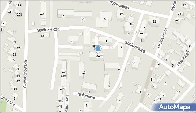 Łazy, Spółdzielcza, 8A, mapa Łazy
