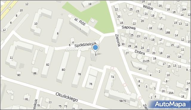 Radom, Spółdzielcza, 3, mapa Radomia