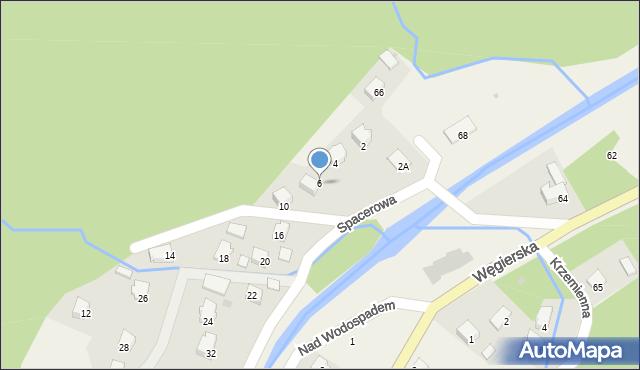 Rymanów-Zdrój, Spacerowa, 6, mapa Rymanów-Zdrój