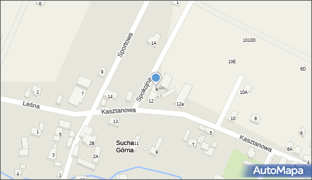 Sucha Górna, Spokojna, 4, mapa Sucha Górna