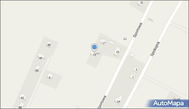 Sucha Górna, Sportowa, 13, mapa Sucha Górna