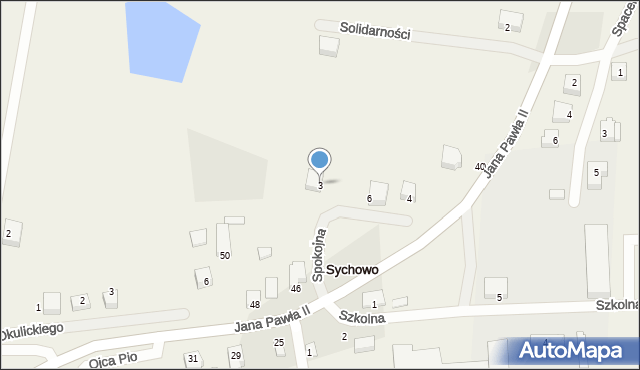 Sychowo, Spokojna, 3, mapa Sychowo