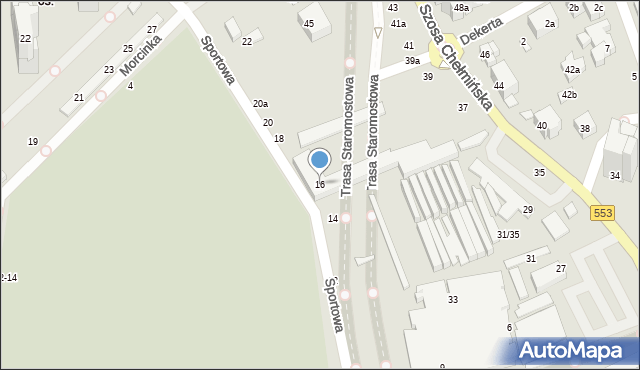 Toruń, Sportowa, 16, mapa Torunia
