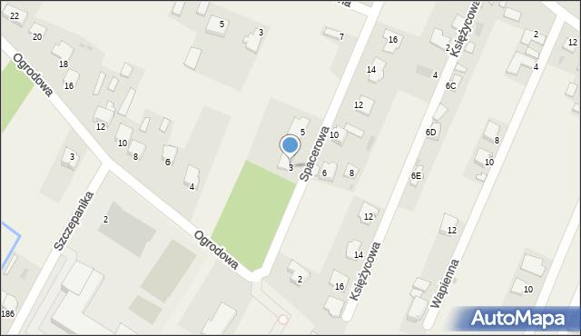 Wacyn, Spacerowa, 3, mapa Wacyn