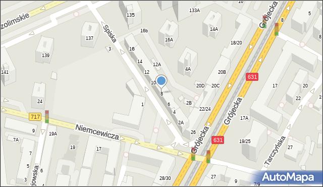 Warszawa, Spiska, 8, mapa Warszawy