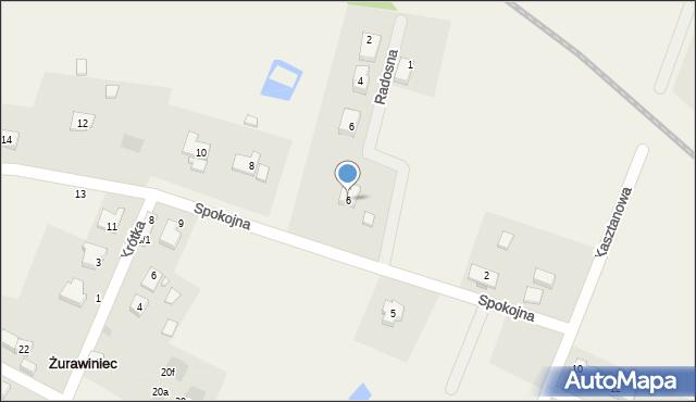 Żurawiniec, Spokojna, 6, mapa Żurawiniec