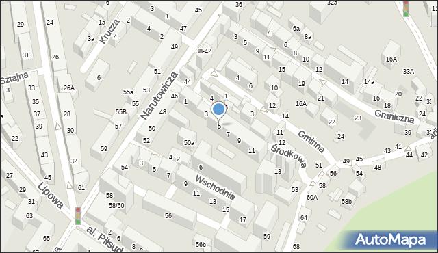 Lublin, Środkowa, 5, mapa Lublina