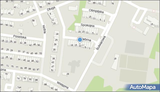 Radom, Srebrna, 11, mapa Radomia