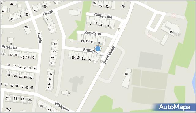Radom, Srebrna, 1A, mapa Radomia
