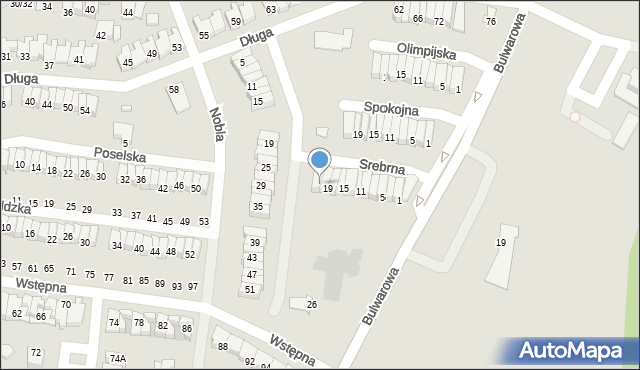 Radom, Srebrna, 21, mapa Radomia