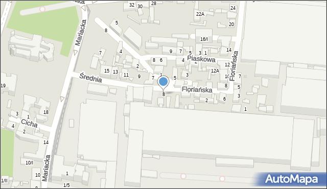 Sosnowiec, Średnia, 8, mapa Sosnowca