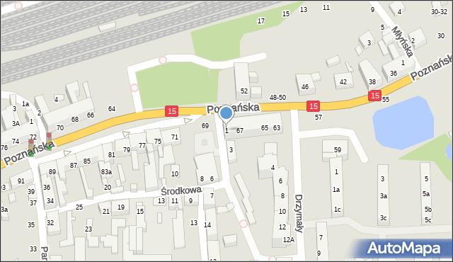Toruń, Środkowa, 1, mapa Torunia