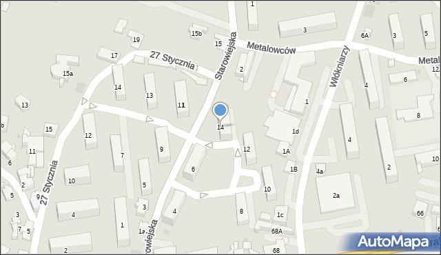 Andrychów, Starowiejska, 14, mapa Andrychów