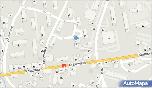 Andrychów, Starowiejska, 8, mapa Andrychów