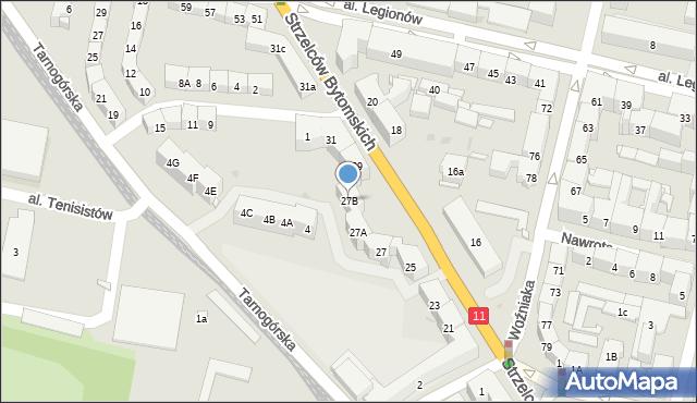 Bytom, Strzelców Bytomskich, 27B, mapa Bytomia