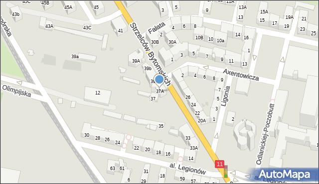 Bytom, Strzelców Bytomskich, 37A, mapa Bytomia