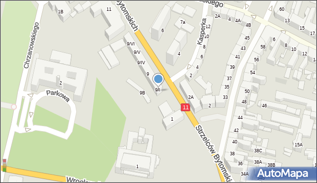 Bytom, Strzelców Bytomskich, 9A, mapa Bytomia