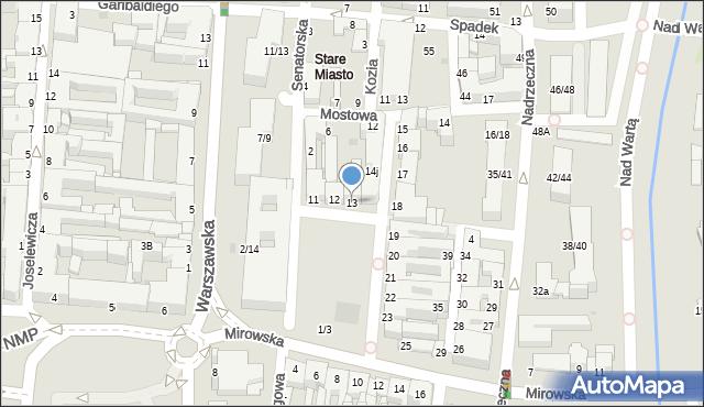 Częstochowa, Stary Rynek, 13, mapa Częstochowy