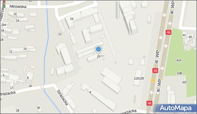 Częstochowa, Strażacka, 27, mapa Częstochowy