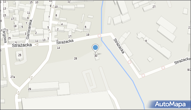 Częstochowa, Strażacka, 30A, mapa Częstochowy