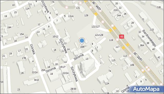 Częstochowa, Stroma, 10A, mapa Częstochowy