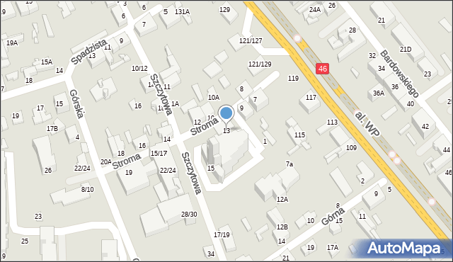 Częstochowa, Stroma, 13, mapa Częstochowy